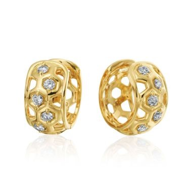 "Gumuchian Honeybee ""B"" 18k Yellow Gold Diamond Huggie Earrings"