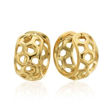 """Gumuchian Honeybee """"B"""" 18k Yellow Gold Huggie Earrings"""