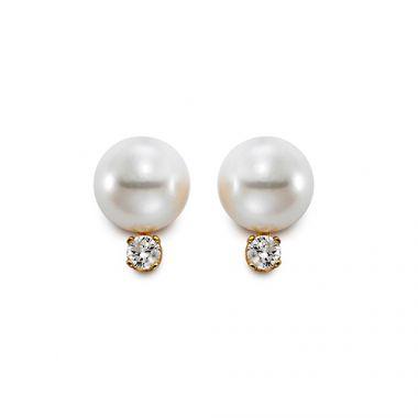 Mastoloni 8mm Freshwater Pearl & Diamond Stud Earrings