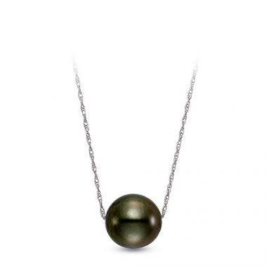 Ladies 14k White Gold Floating Tahitian Pearl Necklace. 8-8.5mm