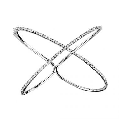 "18K White Gold Diamond ""X"" Bangle"
