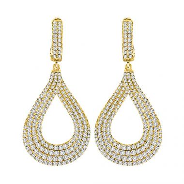 18K Yellow Gold Diamond Fashion Earrings
