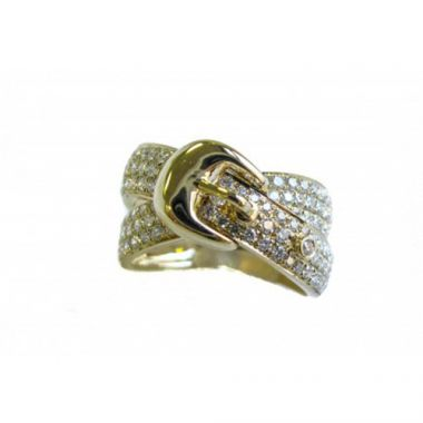 "18K Two-Tone White & Yellow Gold Diamond ""Belt"" Ring"