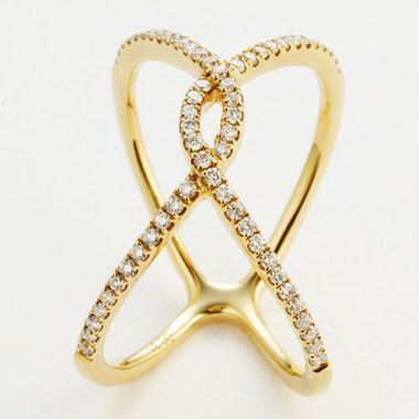 "18K White Gold Fashion ""X"" Ring"
