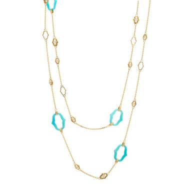 Gumuchian Secret Garden 18k Yellow Gold Blue Agate & Diamond Necklace