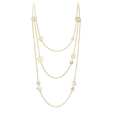 Gumuchian Daisy Diamond Motif 18k Yellow Gold Triple Layer Necklace