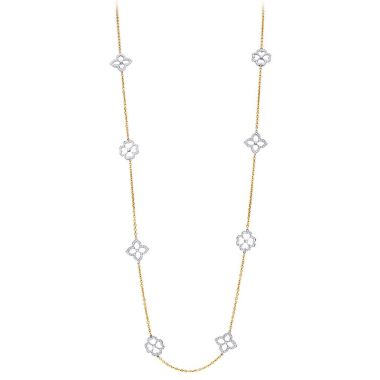 Gumuchian Daisy & Lotus Motif Diamond Pave Two-Tone Necklace