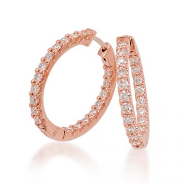 Epoque 14k Rose Gold Diamond Hoops Earrings