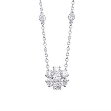 Epoque 14k White Gold Diamond Flower Necklace