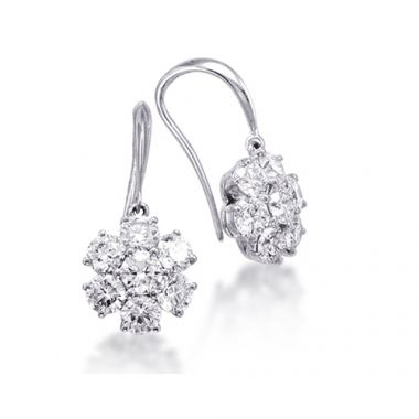Epoque 14k White Gold Diamond Flower Earrings