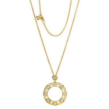 "Gumuchian Honeybee ""B"" 18k Yellow Gold Diamond Pendant"