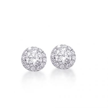 Epoque 14k White Gold Diamond Halo Studs