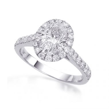 Epoque 14k White Gold Oval Halo Engagement Ring