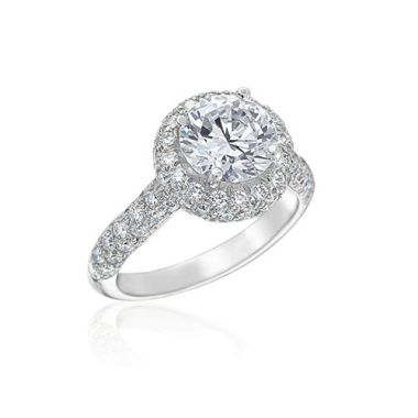 Gumuchian Bridal Platinum Halo Diamond Halo Semi-Mount Engagement Ring