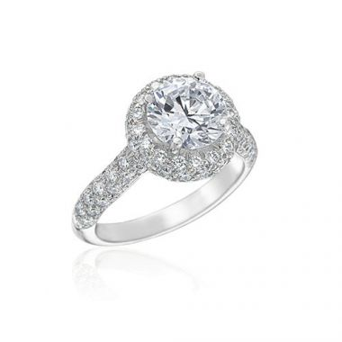 Gumuchian Bridal Platinum Halo Diamond Halo Semi-Mount Engagement Ring