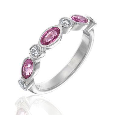 Gumuchian 18k White Gold Diamond & Pink Sapphire Stackable Ring