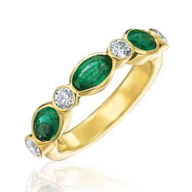 Gumuchian Marbella 18k Yellow Gold Diamond Emerald Stackable Ring