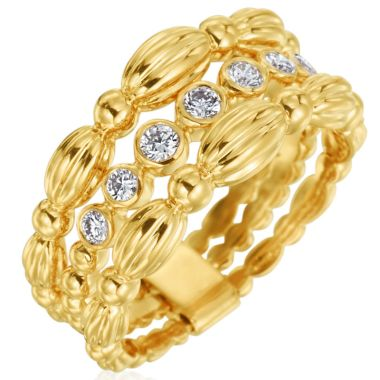Gumuchian Nutmeg 18k Gold Small Three Row Ring