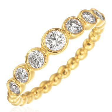 Gumuchian Nutmeg 18k Gold Medium Diamond Stackable Band