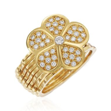Gumuchian G. Boutique 18k Yellow Gold Diamond Daisy Transforming Ring to Bracelet