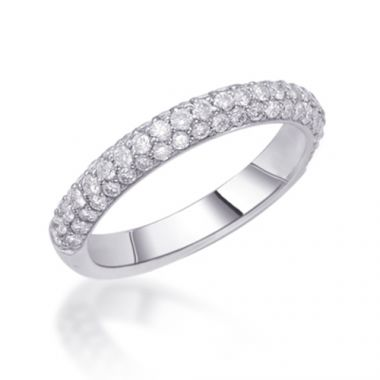 Epoque 14k White Gold Diamond Pave Wedding Band