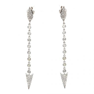 Meira T 14k White Gold Long Diamond Spear Tip Earrings