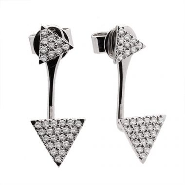 Meira T 14k White Gold Triangle Diamond Ear Jackets