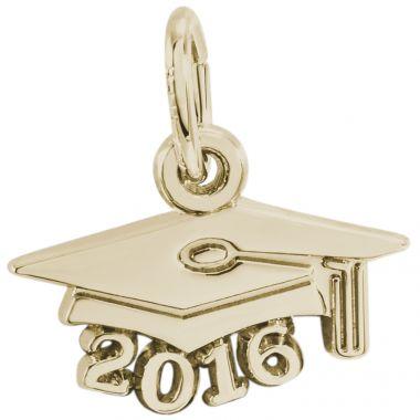 14k Gold Grad Cap 2016 Charm