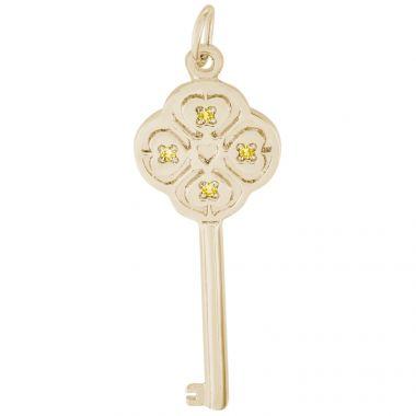 14k Gold Key Lg 4 Heart Nov Charm