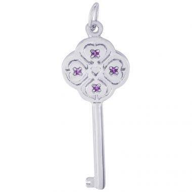 Sterling Silver Key Lg 4 Heart Feb Charm