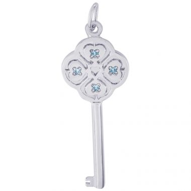 Sterling Silver Key Lg 4 Heart March Charm